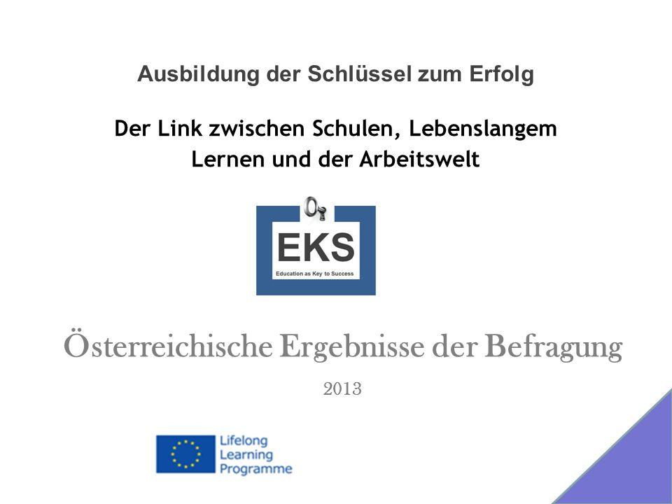 Österreichische Ergebnisse der Befragung 2013 Ausbildung der Schlüssel zum Erfolg Der Link zwischen Schulen, Lebenslangem Lernen und der Arbeitswelt