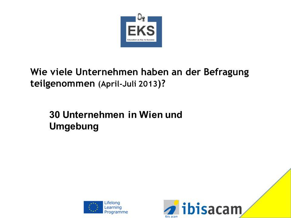 30 Unternehmen in Wien und Umgebung Wie viele Unternehmen haben an der Befragung teilgenommen (April-Juli 2013 )