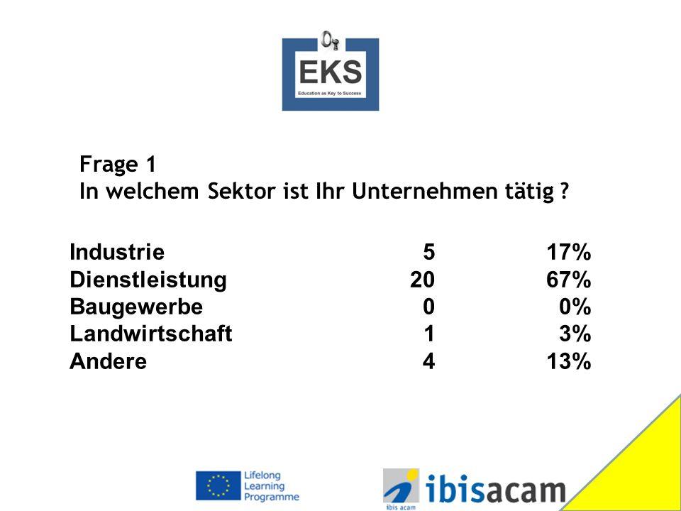 Industrie 517% Dienstleistung2067% Baugewerbe 0 0% Landwirtschaft 1 3% Andere 413% Frage 1 In welchem Sektor ist Ihr Unternehmen tätig
