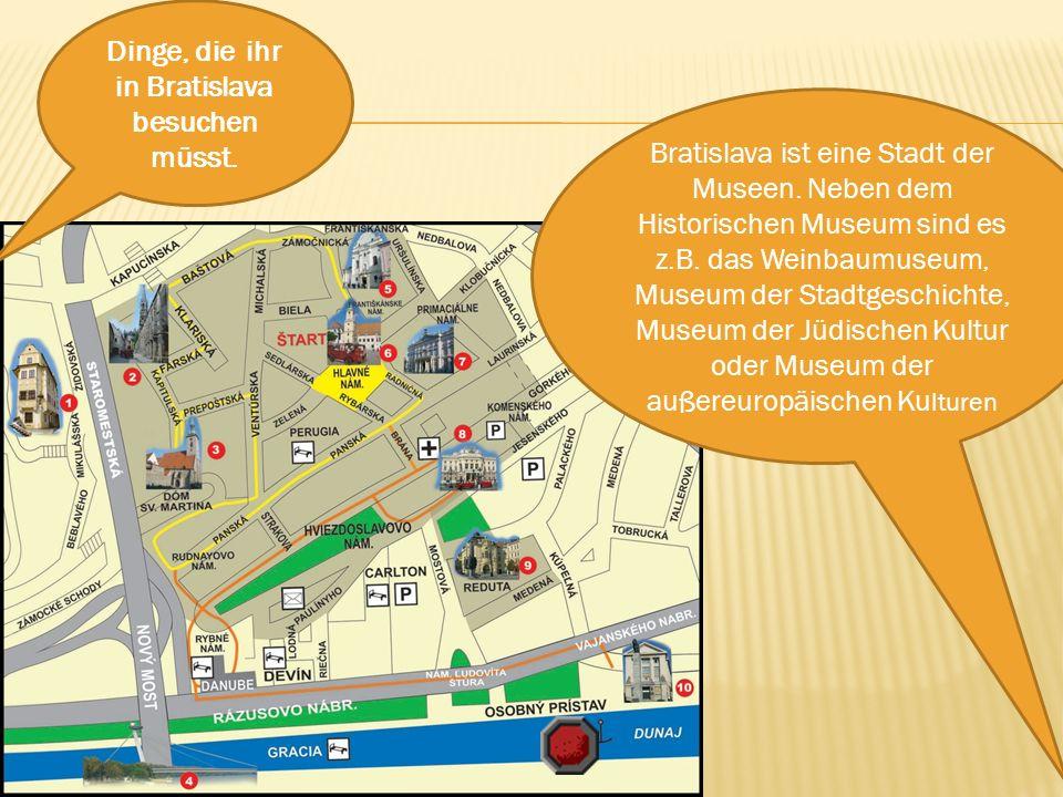 Bratislava ist eine Stadt der Museen. Neben dem Historischen Museum sind es z.B. das Weinbaumuseum, Museum der Stadtgeschichte, Museum der Jüdischen K