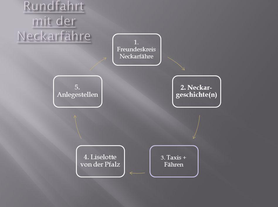 1. Freundeskreis Neckarfähre 2. Neckar- geschichte(n) 3.