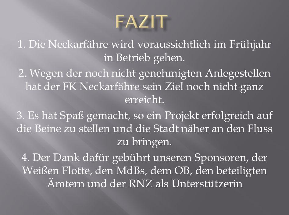 1. Die Neckarfähre wird voraussichtlich im Frühjahr in Betrieb gehen.