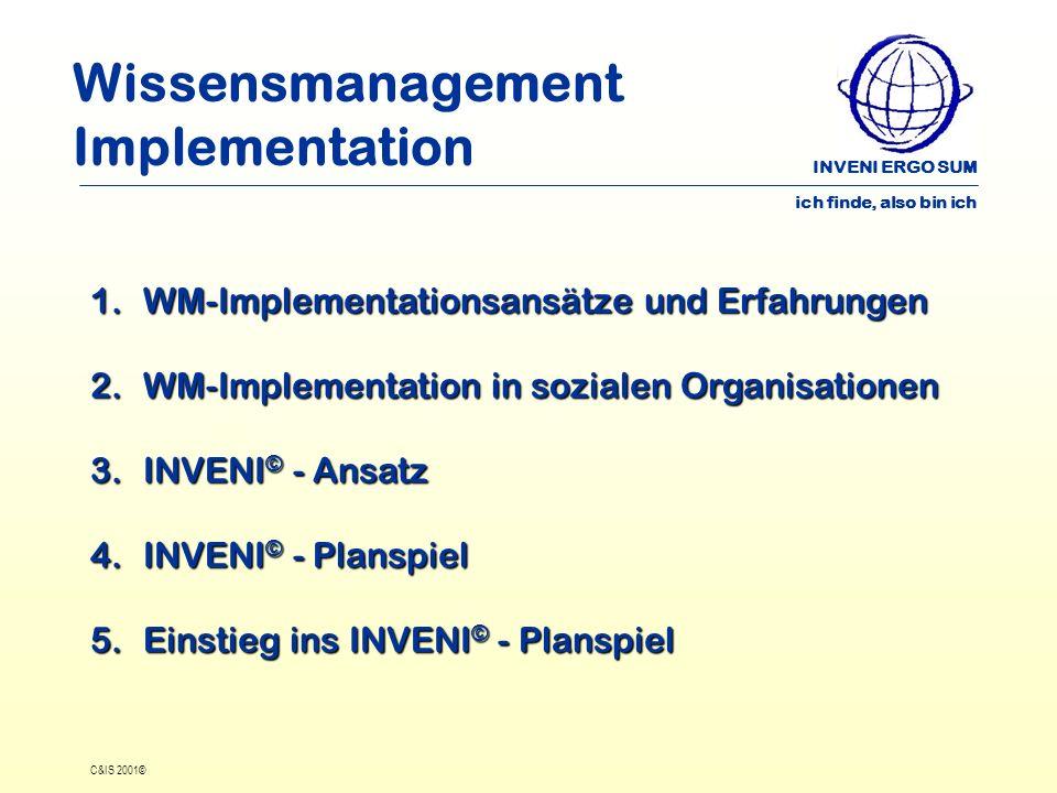 INVENI ERGO SUM ich finde, also bin ich C&IS 2001© Wissensmanagement Implementation 1.WM-Implementationsansätze und Erfahrungen 2.WM-Implementation in