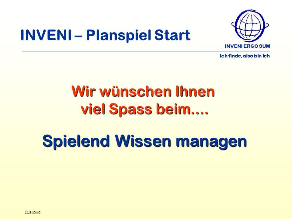 INVENI ERGO SUM ich finde, also bin ich C&IS 2001© INVENI – Planspiel Start Wir wünschen Ihnen viel Spass beim.... Spielend Wissen managen