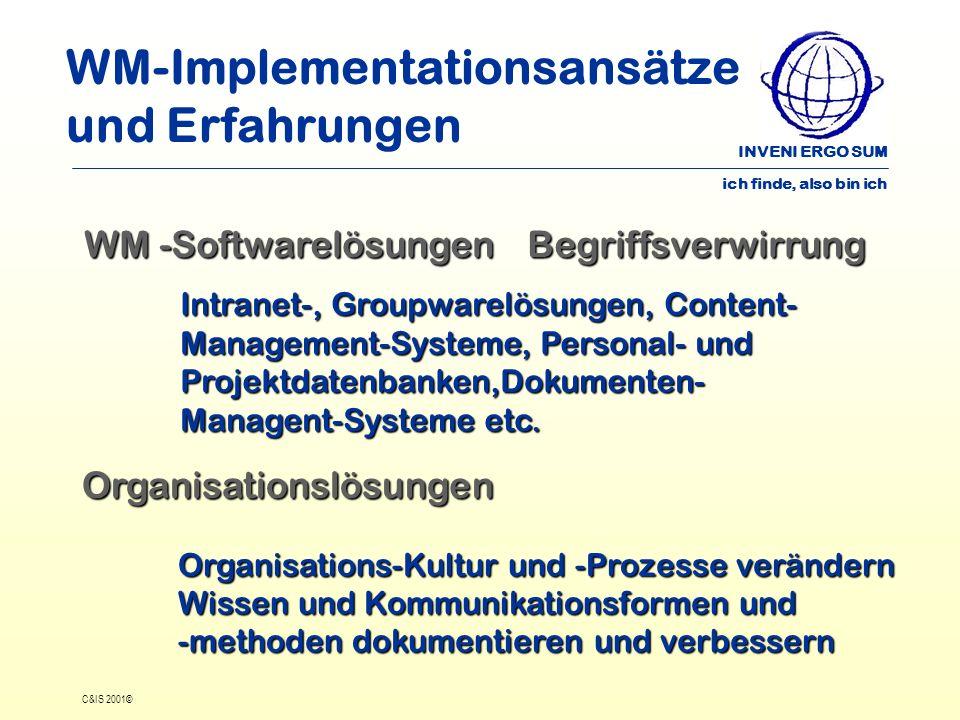 INVENI ERGO SUM ich finde, also bin ich C&IS 2001© WM-Implementationsansätze und Erfahrungen WM -Softwarelösungen Begriffsverwirrung Intranet-, Groupw