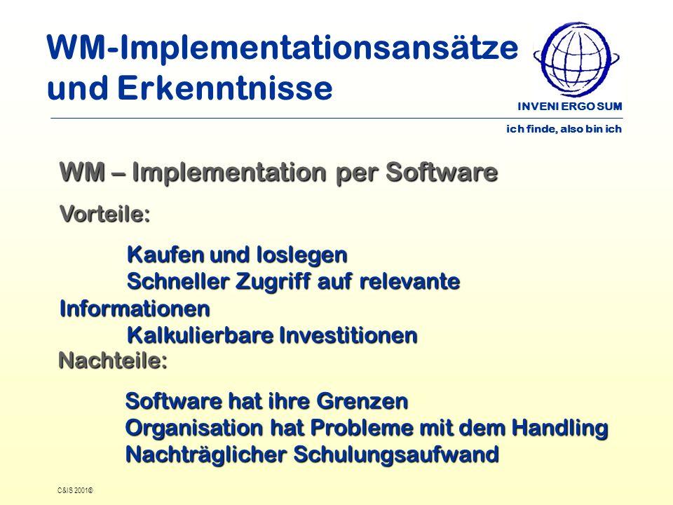 INVENI ERGO SUM ich finde, also bin ich C&IS 2001© WM-Implementationsansätze und Erkenntnisse WM – Implementation per Software Vorteile: Kaufen und lo