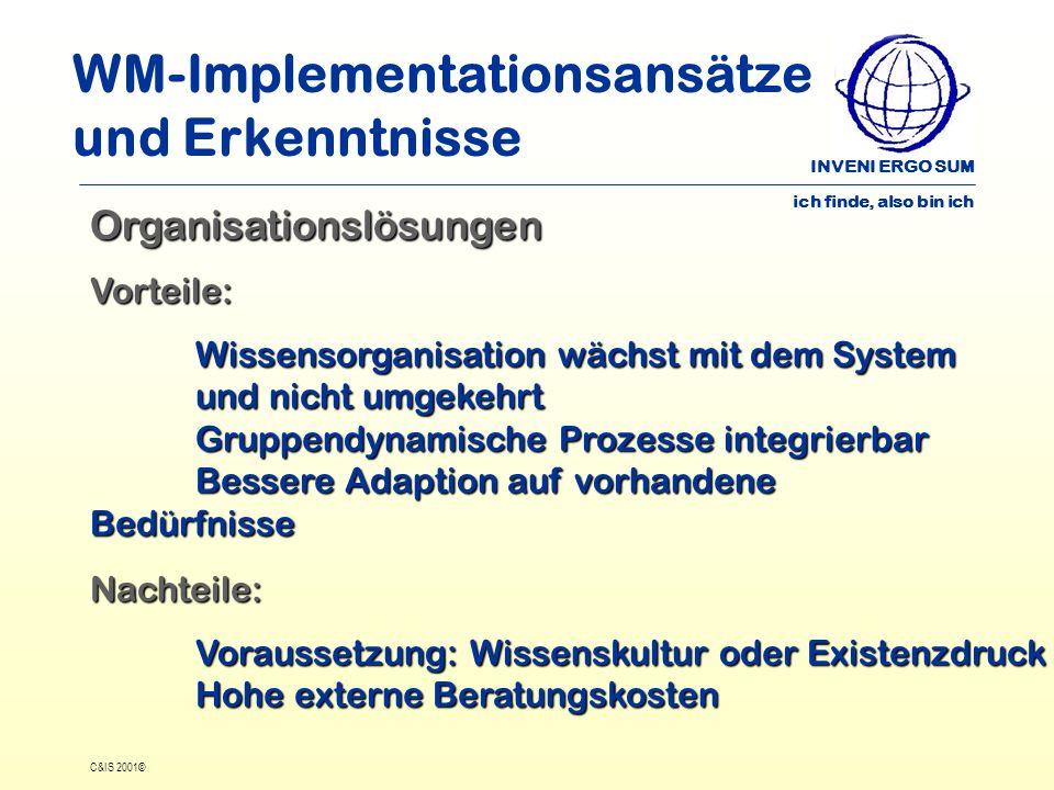 INVENI ERGO SUM ich finde, also bin ich C&IS 2001© WM-Implementationsansätze und Erkenntnisse OrganisationslösungenVorteile: Wissensorganisation wächs