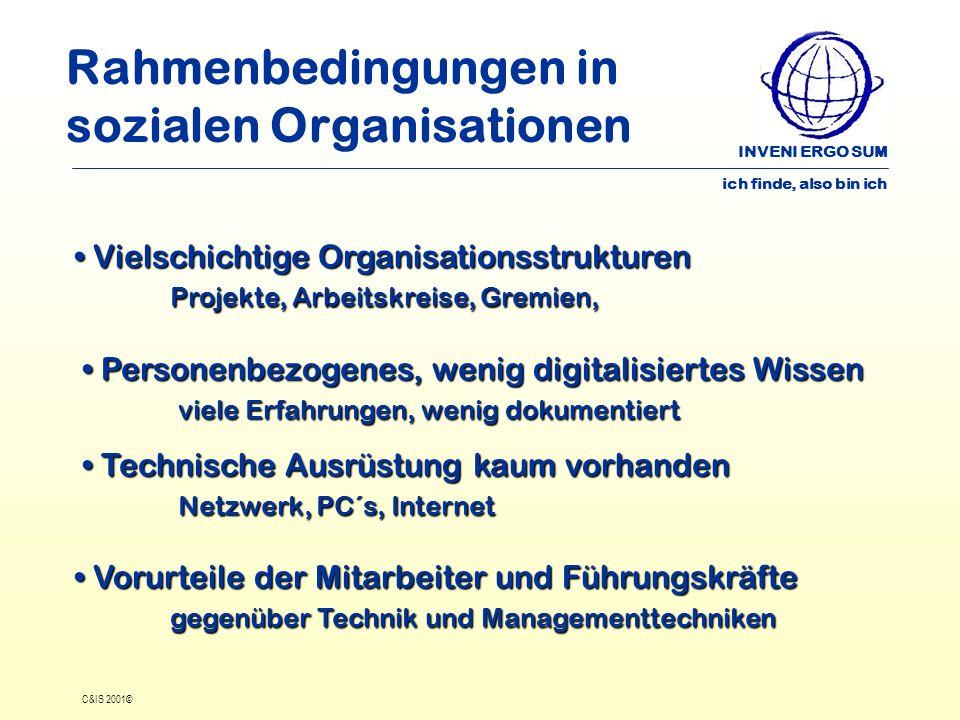 INVENI ERGO SUM ich finde, also bin ich C&IS 2001© Rahmenbedingungen in sozialen Organisationen Vielschichtige Organisationsstrukturen Projekte, Arbei