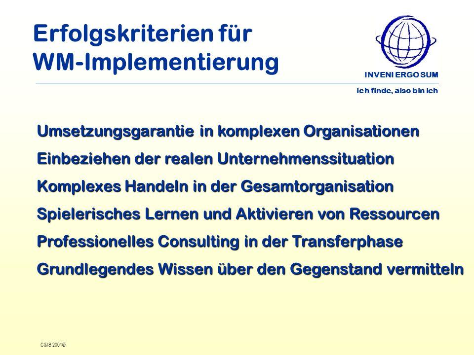 INVENI ERGO SUM ich finde, also bin ich C&IS 2001© Erfolgskriterien für WM-Implementierung Umsetzungsgarantie in komplexen Organisationen Einbeziehen