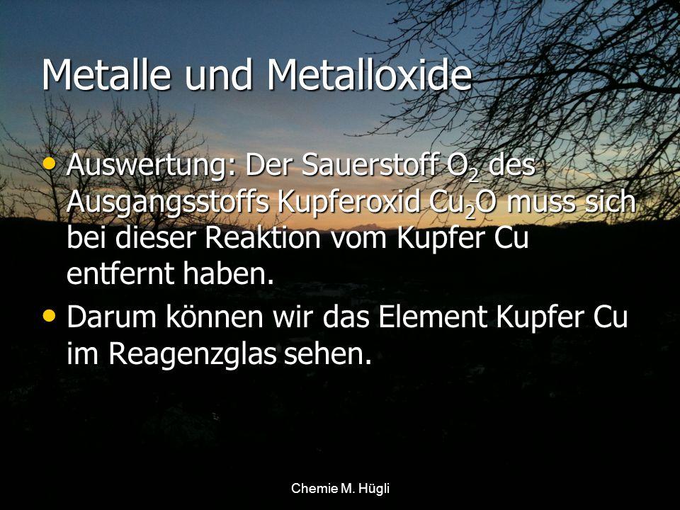 Kupferoxid Cu 2 O + Eisen Fe Kupfer Cu + ? Chemie M. Hügli