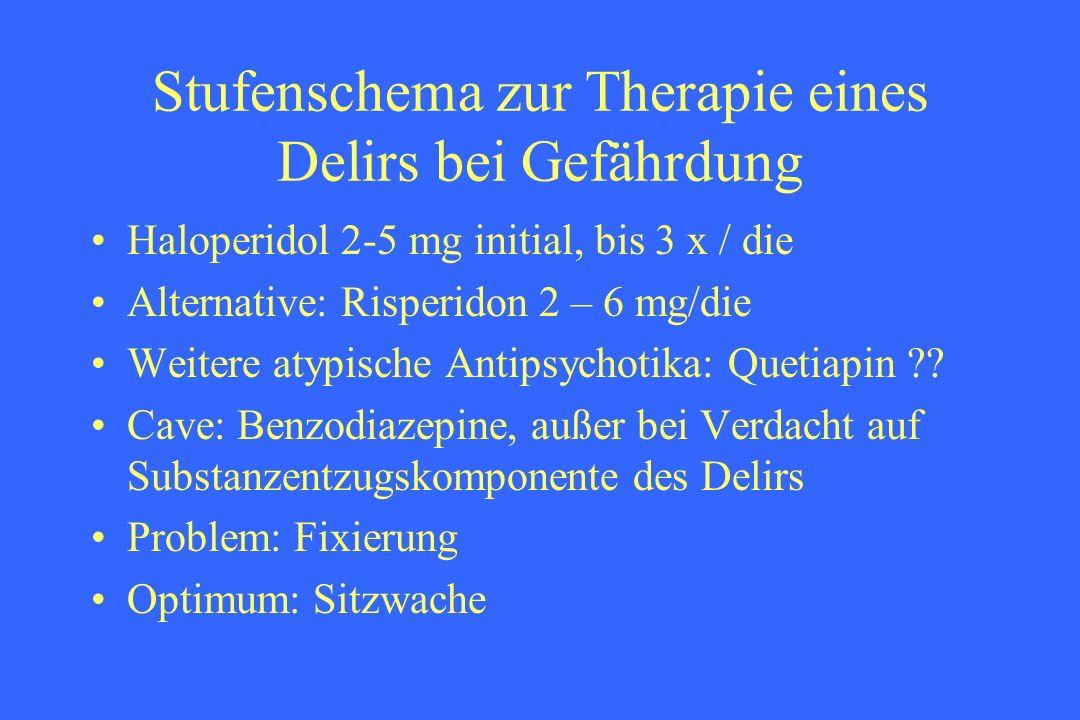 Stufenschema zur Therapie eines Delirs bei Gefährdung Haloperidol 2-5 mg initial, bis 3 x / die Alternative: Risperidon 2 – 6 mg/die Weitere atypische