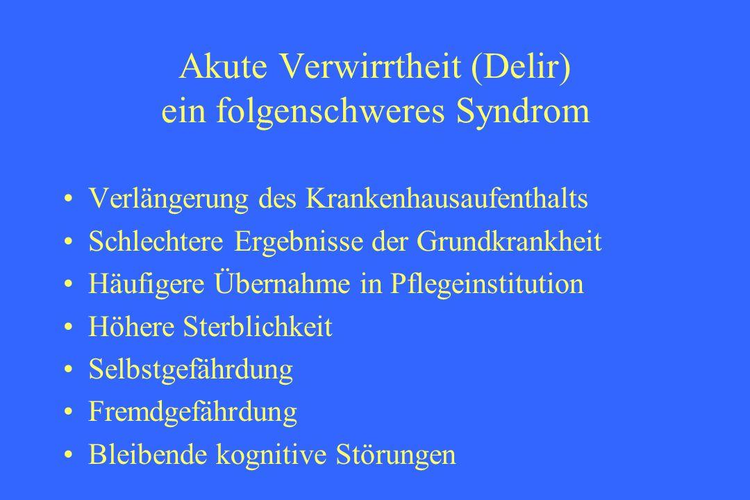 Akute Verwirrtheit (Delir) ein folgenschweres Syndrom Verlängerung des Krankenhausaufenthalts Schlechtere Ergebnisse der Grundkrankheit Häufigere Über
