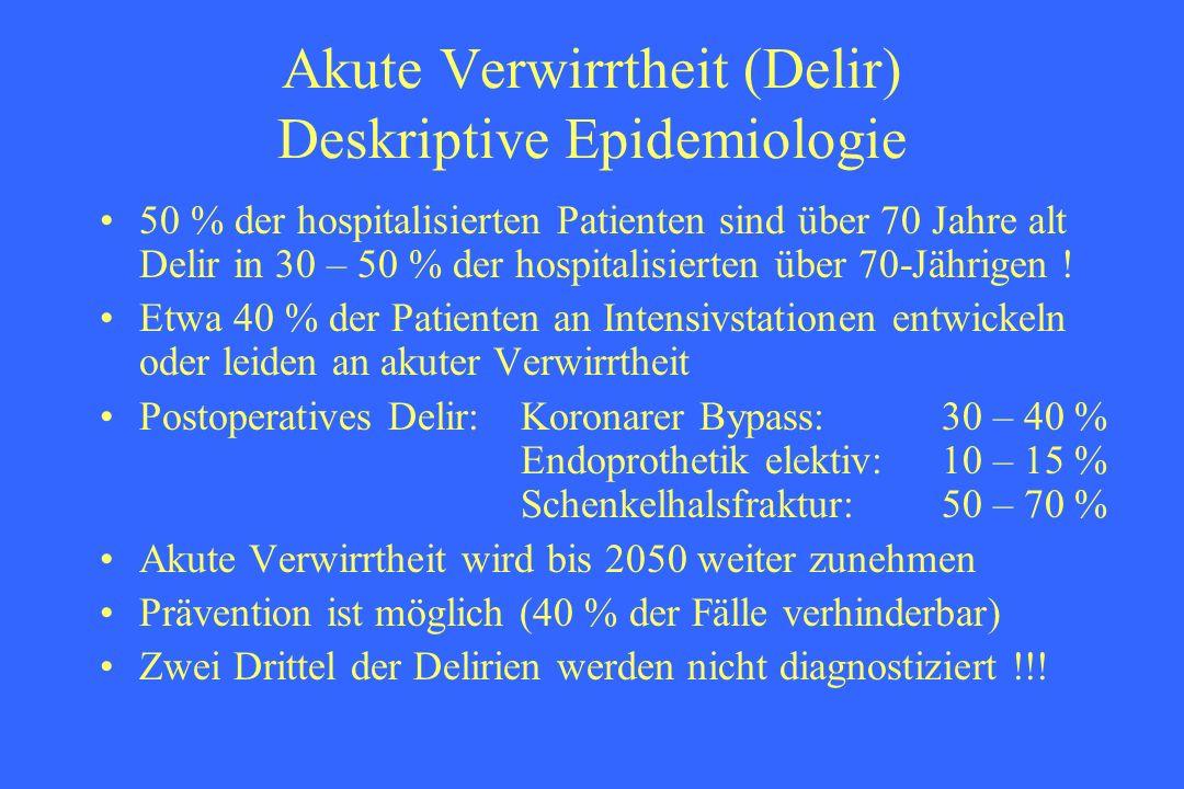 Akute Verwirrtheit (Delir) Deskriptive Epidemiologie 50 % der hospitalisierten Patienten sind über 70 Jahre alt Delir in 30 – 50 % der hospitalisierte