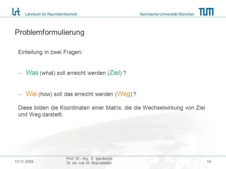 13.11.200914 Problemformulierung Einteilung in zwei Fragen: Was (what) soll erreicht werden ( Ziel ) .