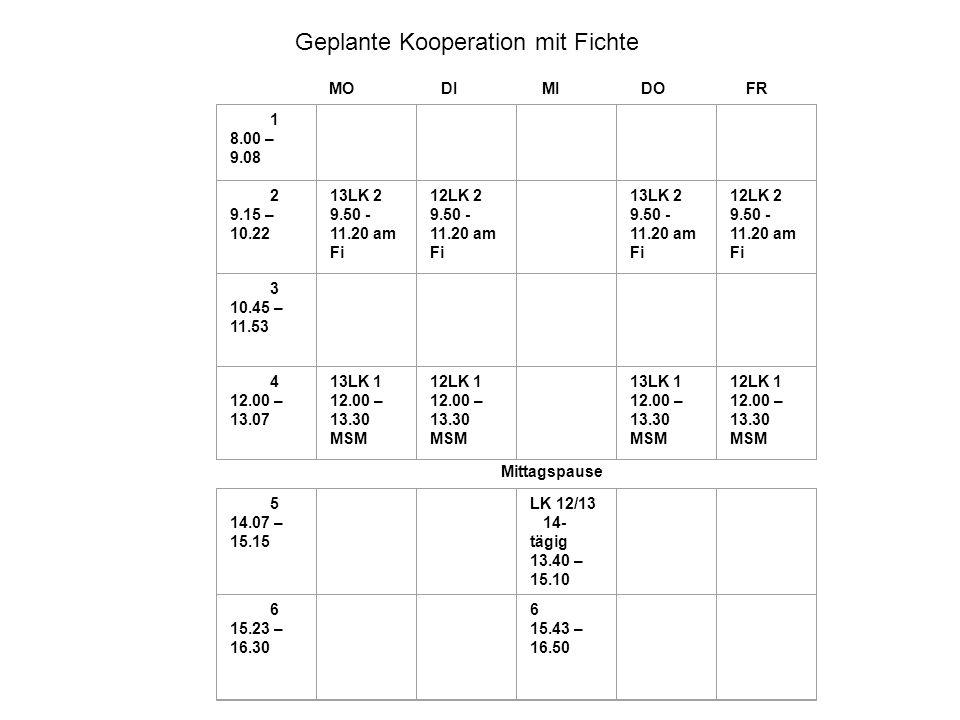 MO DI MI DO FR 1 8.00 – 9.08 2 9.15 – 10.22 13LK 2 9.50 - 11.20 am Fi 12LK 2 9.50 - 11.20 am Fi 13LK 2 9.50 - 11.20 am Fi 12LK 2 9.50 - 11.20 am Fi 3