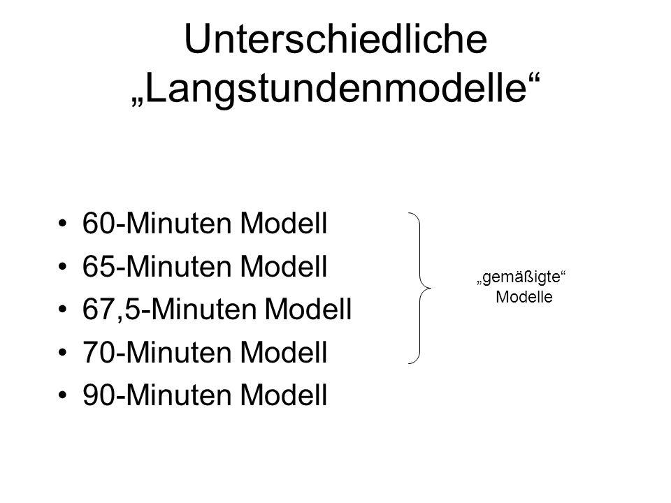 Unterschiedliche Langstundenmodelle 60-Minuten Modell 65-Minuten Modell 67,5-Minuten Modell 70-Minuten Modell 90-Minuten Modell gemäßigte Modelle