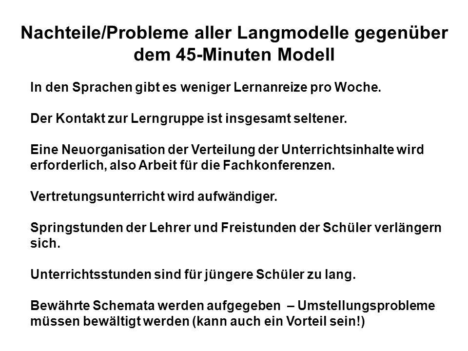Nachteile/Probleme aller Langmodelle gegenüber dem 45-Minuten Modell In den Sprachen gibt es weniger Lernanreize pro Woche. Der Kontakt zur Lerngruppe