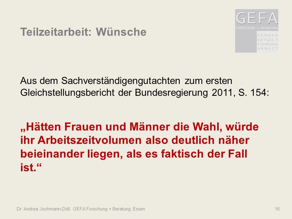 Dr. Andrea Jochmann-Döll, GEFA Forschung + Beratung, Essen 16 Teilzeitarbeit: Wünsche Aus dem Sachverständigengutachten zum ersten Gleichstellungsberi