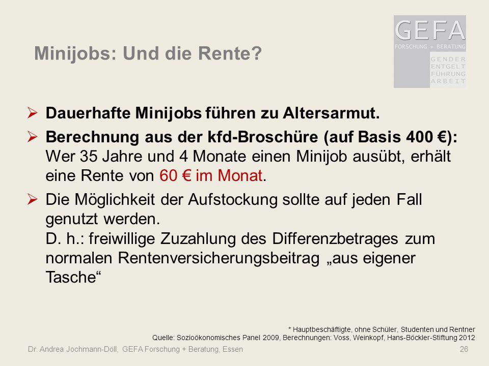 Dr. Andrea Jochmann-Döll, GEFA Forschung + Beratung, Essen 26 Minijobs: Und die Rente? * Hauptbeschäftigte, ohne Schüler, Studenten und Rentner Quelle