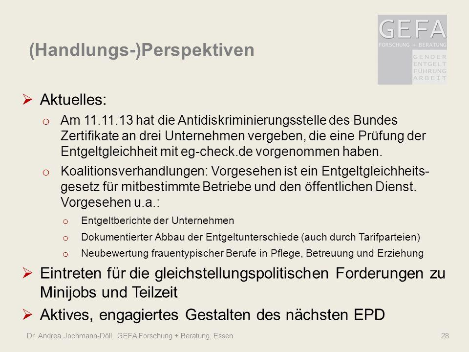 Dr. Andrea Jochmann-Döll, GEFA Forschung + Beratung, Essen 28 Aktuelles: o Am 11.11.13 hat die Antidiskriminierungsstelle des Bundes Zertifikate an dr
