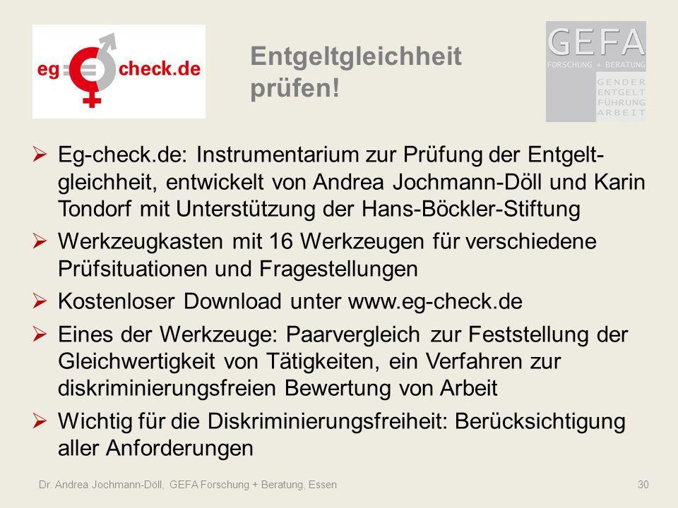 Dr. Andrea Jochmann-Döll, GEFA Forschung + Beratung, Essen 30 Eg-check.de: Instrumentarium zur Prüfung der Entgelt- gleichheit, entwickelt von Andrea