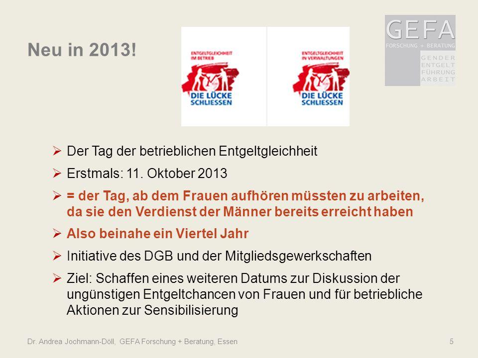 Dr. Andrea Jochmann-Döll, GEFA Forschung + Beratung, Essen5 Neu in 2013! Der Tag der betrieblichen Entgeltgleichheit Erstmals: 11. Oktober 2013 = der