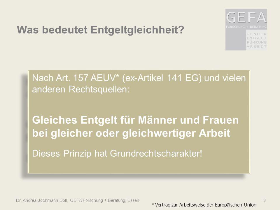 Was bedeutet Entgeltgleichheit? Dr. Andrea Jochmann-Döll, GEFA Forschung + Beratung, Essen 8 Nach Art. 157 AEUV* (ex-Artikel 141 EG) und vielen andere
