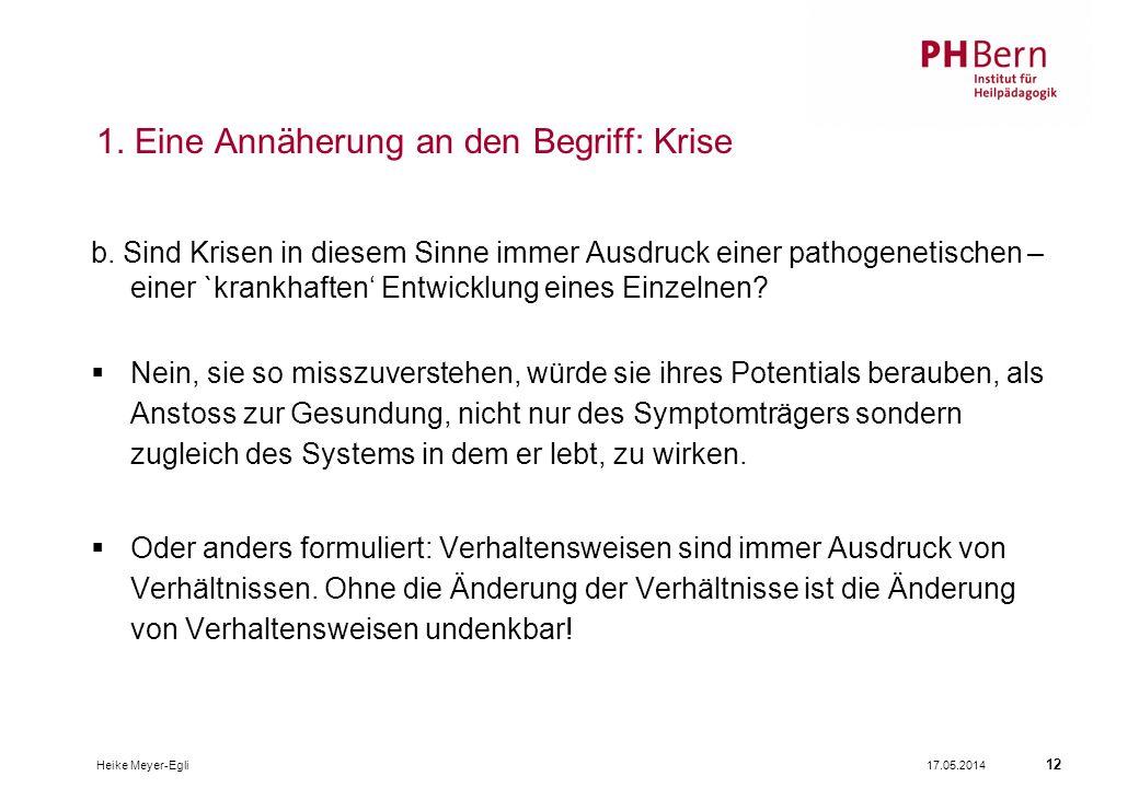 17.05.2014Heike Meyer-Egli 12 1.Eine Annäherung an den Begriff: Krise b.