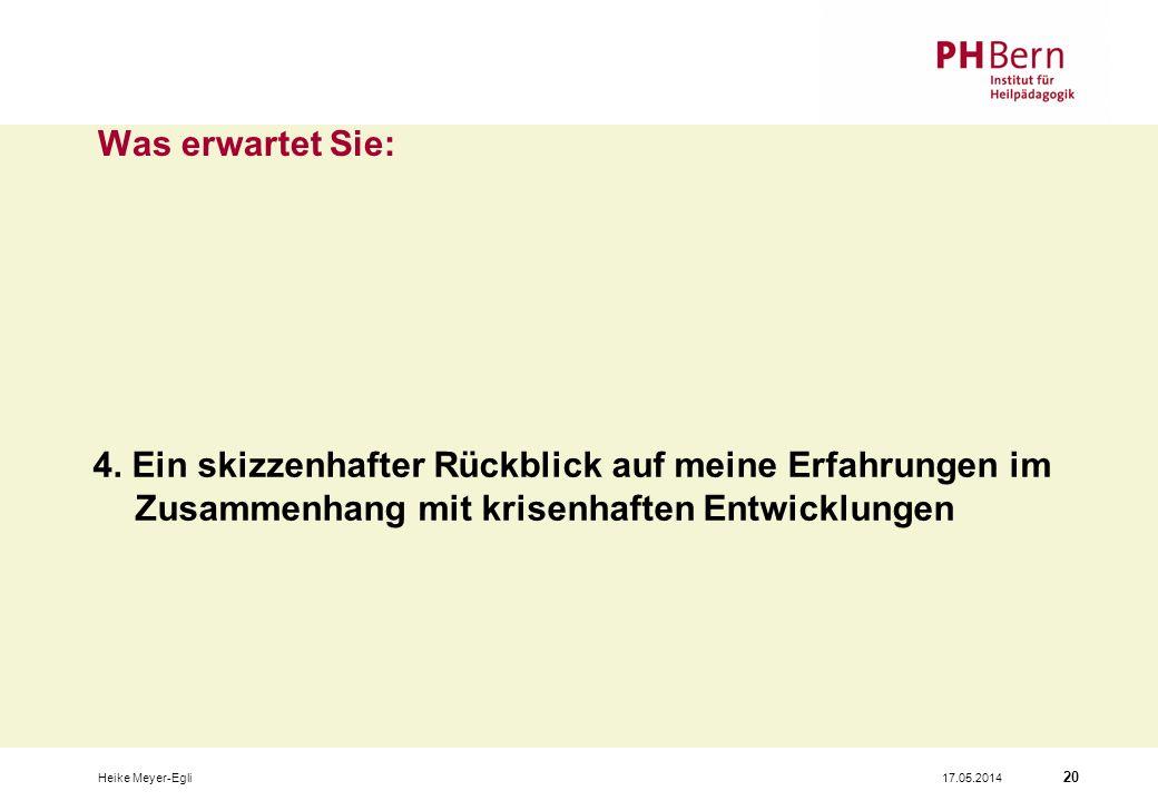 17.05.2014Heike Meyer-Egli 20 Was erwartet Sie: 4.