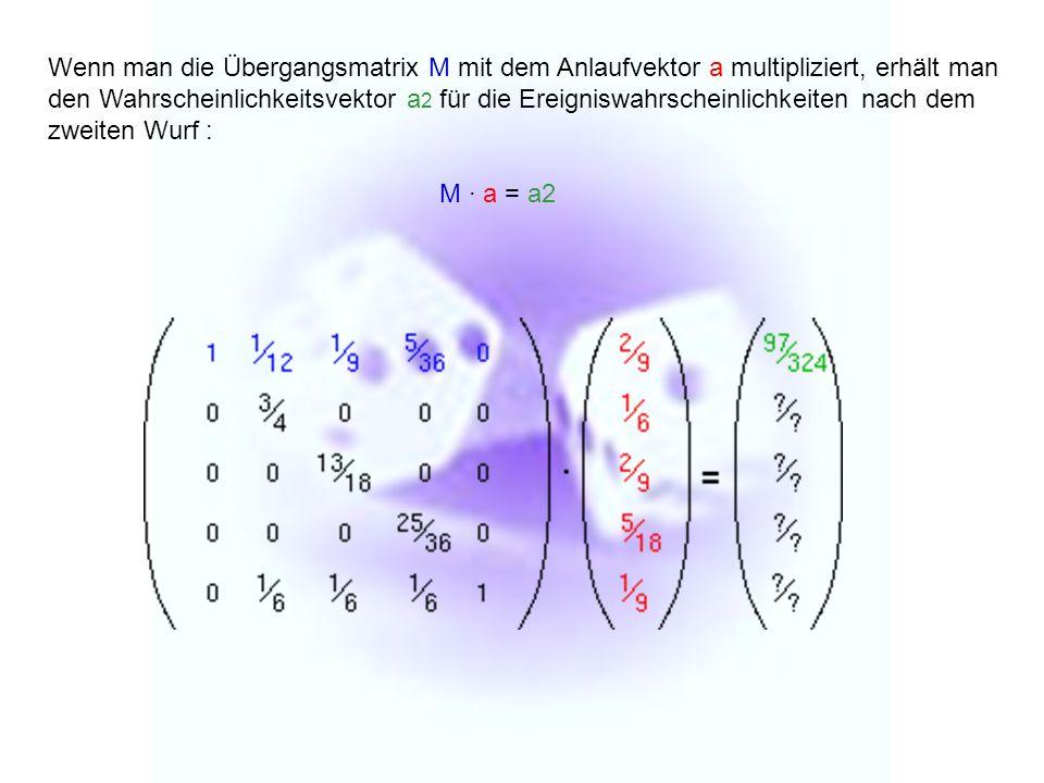 Wenn man die Übergangsmatrix M mit dem Anlaufvektor a multipliziert, erhält man den Wahrscheinlichkeitsvektor a 2 für die Ereigniswahrscheinlichkeiten