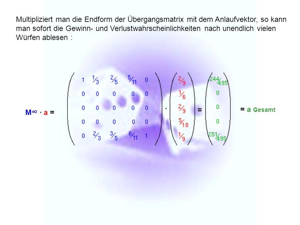 Multipliziert man die Endform der Übergangsmatrix mit dem Anlaufvektor, so kann man sofort die Gewinn- und Verlustwahrscheinlichkeiten nach unendlich