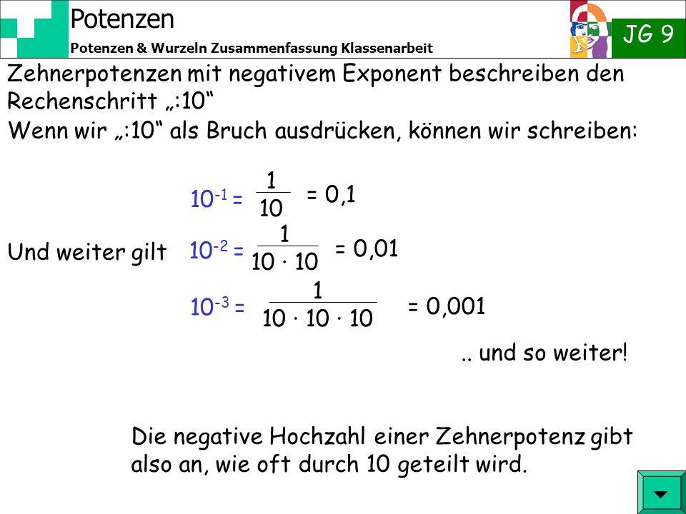 Potenzen JG 9 Potenzen & Wurzeln Zusammenfassung Klassenarbeit Wir kennen: = 10 9 = 10 5 10 10 00000000 100000000 = 10 8 10000000 = 10 7 1000000 = 10