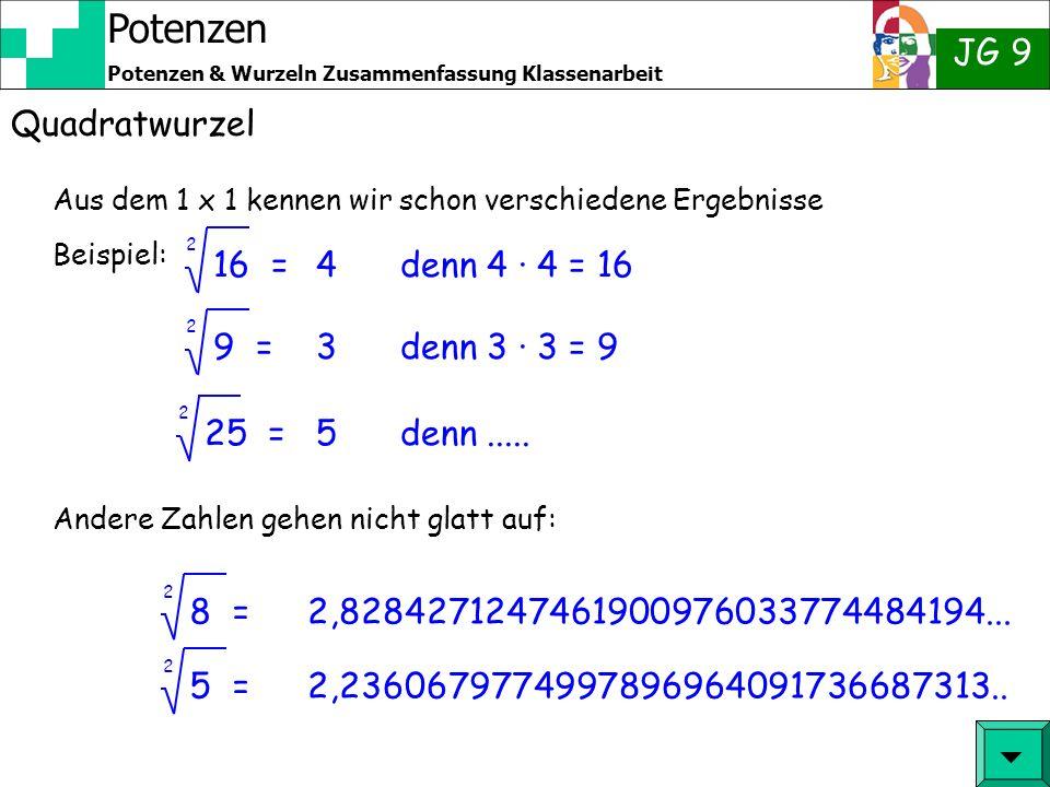 Potenzen JG 9 Potenzen & Wurzeln Zusammenfassung Klassenarbeit Quadratwurzel Bisher haben wir das Ergebnis einer Potenzierung gesucht: 5² = Beispiel: