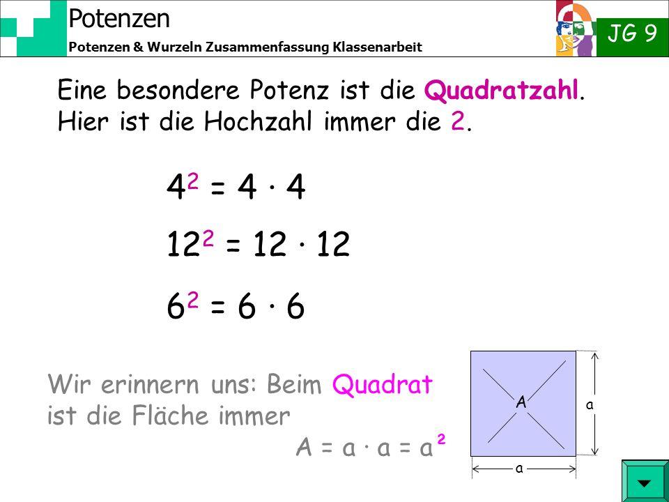 Potenzen JG 9 Potenzen & Wurzeln Zusammenfassung Klassenarbeit 4 2 = 4 · 4 12 2 = 12 · 12 6 2 = 6 · 6 Eine besondere Potenz ist die Quadratzahl.