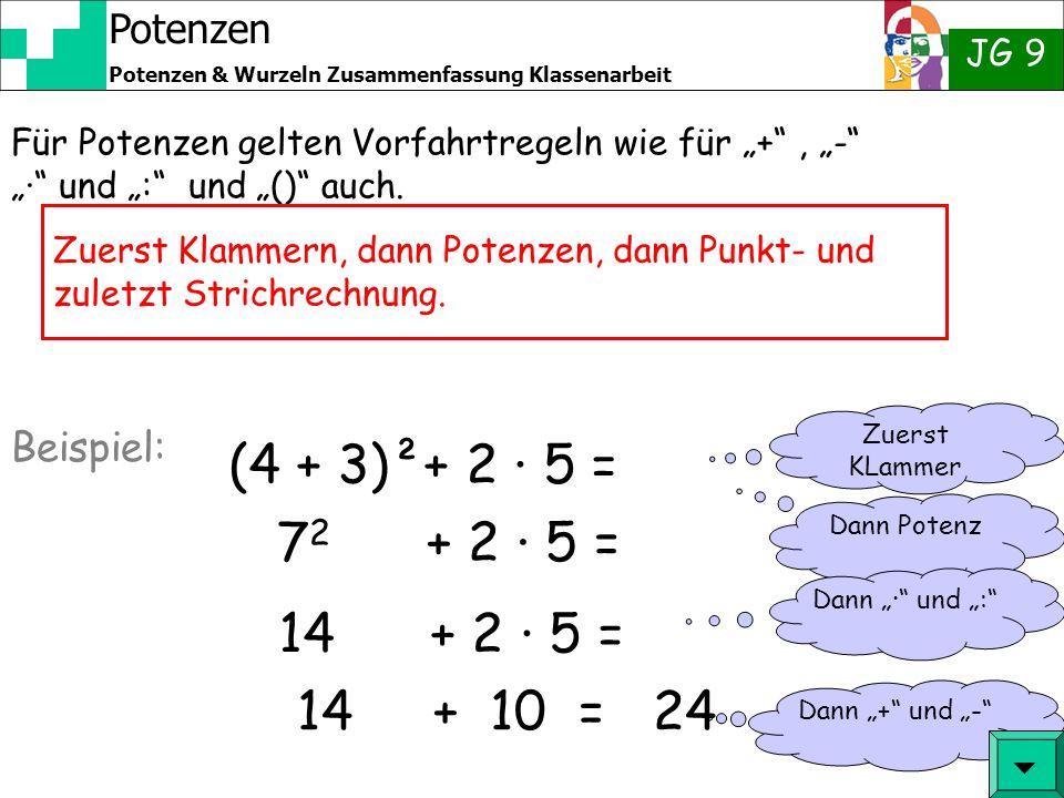 Potenzen JG 9 Potenzen & Wurzeln Zusammenfassung Klassenarbeit 4 3 · 4 = Man kann mit Potenzen rechnen, ohne diese jeweils auszuschreiben: 4 · 4 · 4 ·