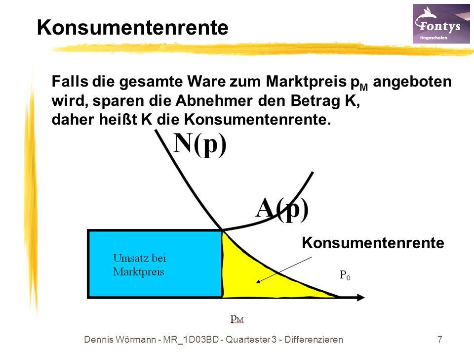 Dennis Wörmann - MR_1D03BD - Quartester 3 - Differenzieren8 Produzentenrente Manche Produzenten wären allerdings auch bereit unter dem Marktpreis p M zu verkaufen.