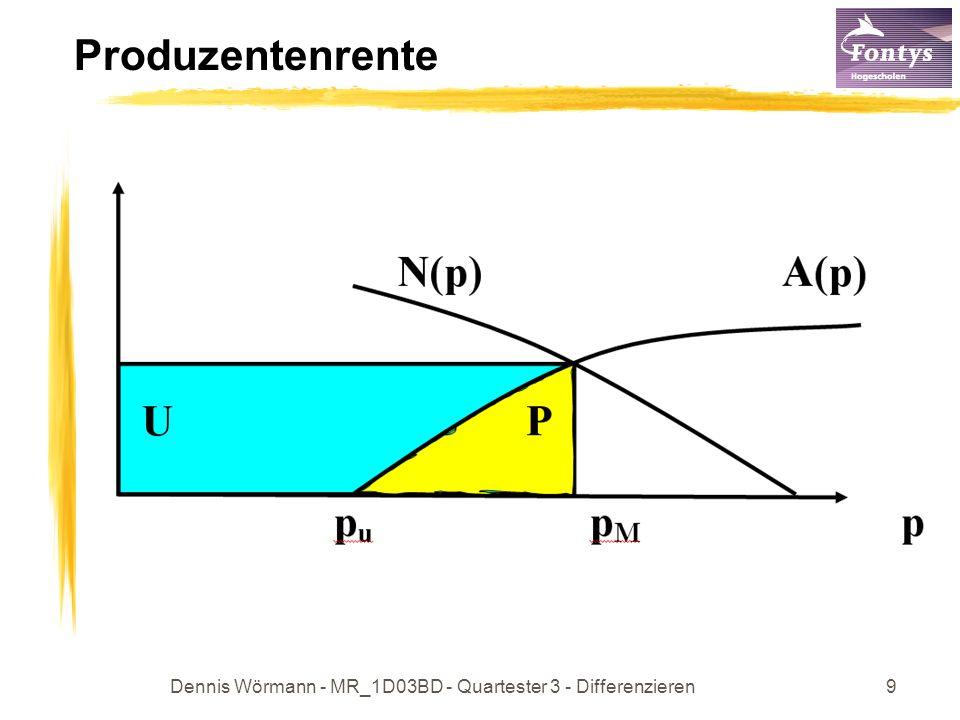 Dennis Wörmann - MR_1D03BD - Quartester 3 - Differenzieren10 C26 p 1; 33p 2 – 50p – 575 = 0 p = 5 p = Also Marktpreis p M =5; N(p) = 8 – 0,08p 2 Marktpreis: A(p) = N(p)