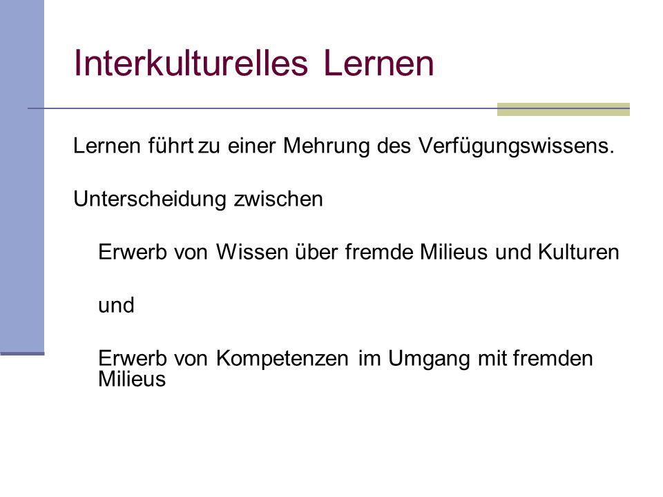 Interkulturelle Sozialisation Sozialisation in ausgeprägt heterogene Milieus: Sozialisation in Milieus, die in mehreren Dimensionen Differenzen aufwei