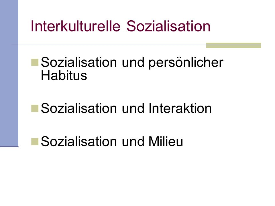 Interkulturelle Sozialisation Sozialisation und persönlicher Habitus Sozialisation und Interaktion Sozialisation und Milieu