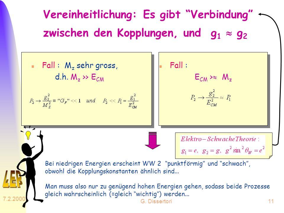G. Dissertori 7.2.2000 11 Vereinheitlichung: Es gibt Verbindung zwischen den Kopplungen, und g 1 g 2 n Fall : M z sehr gross, d.h. M z >> E CM n Fall