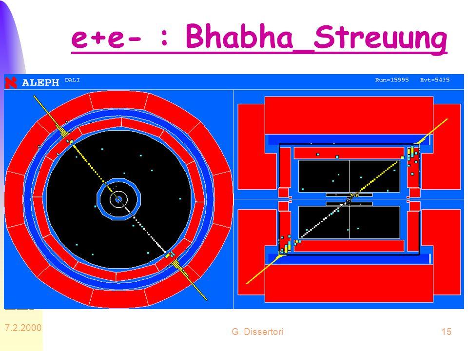 G. Dissertori 7.2.2000 15 e+e- : Bhabha_Streuung