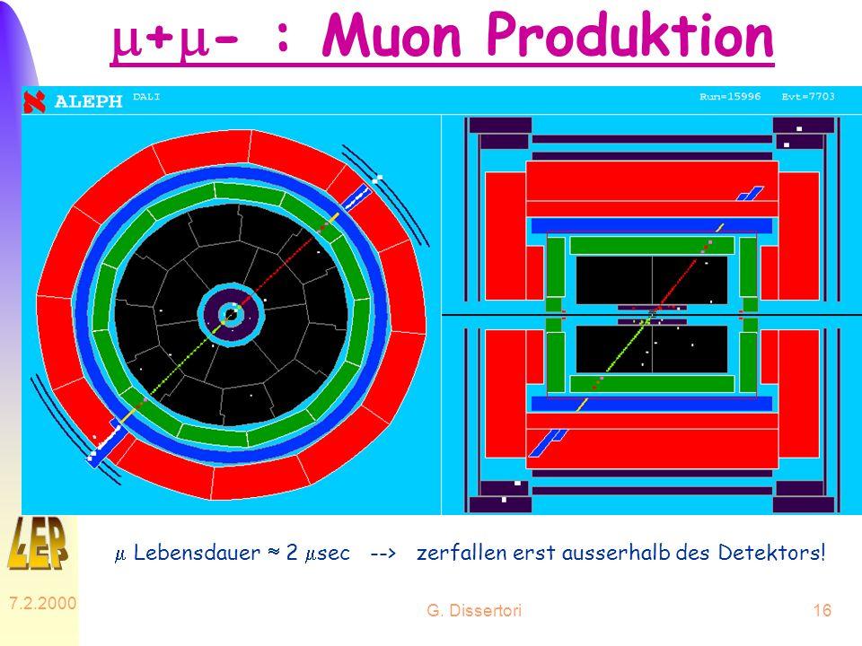 G. Dissertori 7.2.2000 16 + - : Muon Produktion Lebensdauer 2 sec --> zerfallen erst ausserhalb des Detektors!