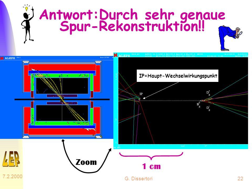G. Dissertori 7.2.2000 22 Antwort:Durch sehr genaue Spur-Rekonstruktion!! Zoom 1 cm IP=Haupt-Wechselwirkungspunkt