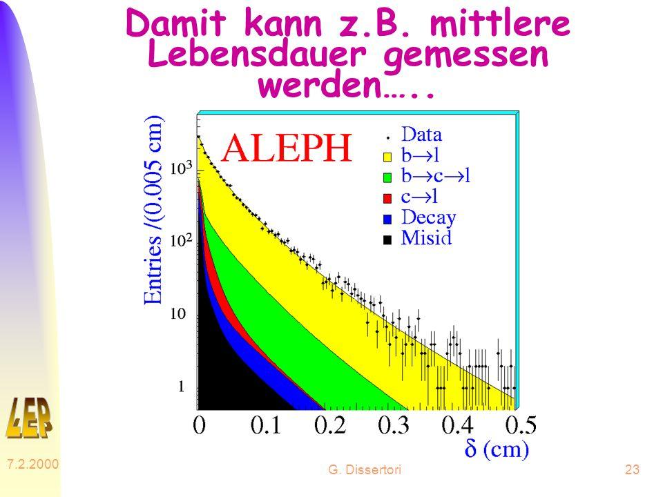 G. Dissertori 7.2.2000 23 Damit kann z.B. mittlere Lebensdauer gemessen werden…..