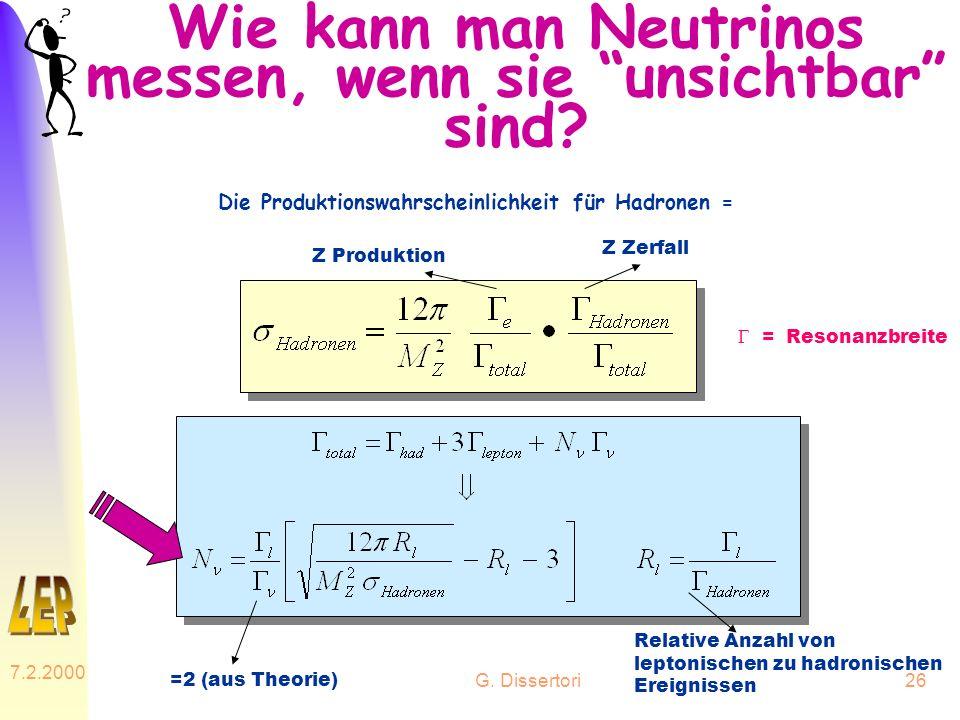 G. Dissertori 7.2.2000 26 Wie kann man Neutrinos messen, wenn sie unsichtbar sind? Die Produktionswahrscheinlichkeit für Hadronen = Z Produktion Z Zer