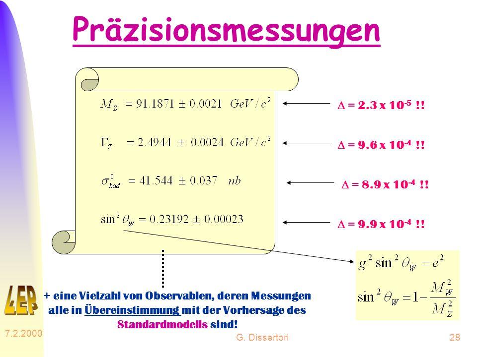 G. Dissertori 7.2.2000 28 Präzisionsmessungen = 2.3 x 10 -5 !! = 9.6 x 10 -4 !! = 8.9 x 10 -4 !! = 9.9 x 10 -4 !! + eine Vielzahl von Observablen, der