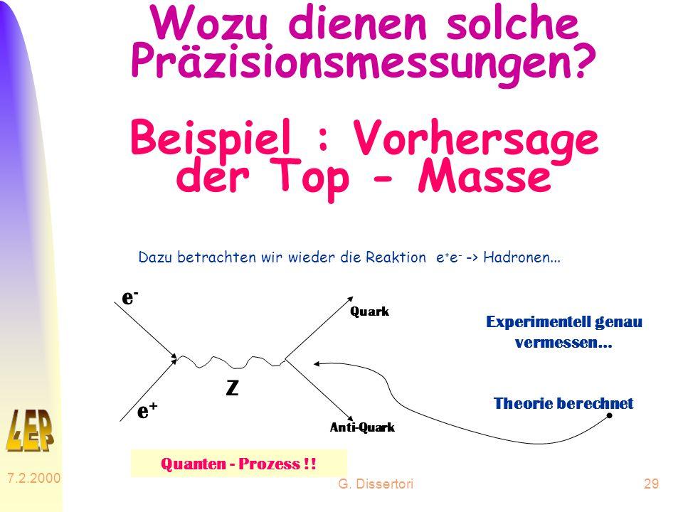 G. Dissertori 7.2.2000 29 Wozu dienen solche Präzisionsmessungen? Beispiel : Vorhersage der Top - Masse Dazu betrachten wir wieder die Reaktion e + e