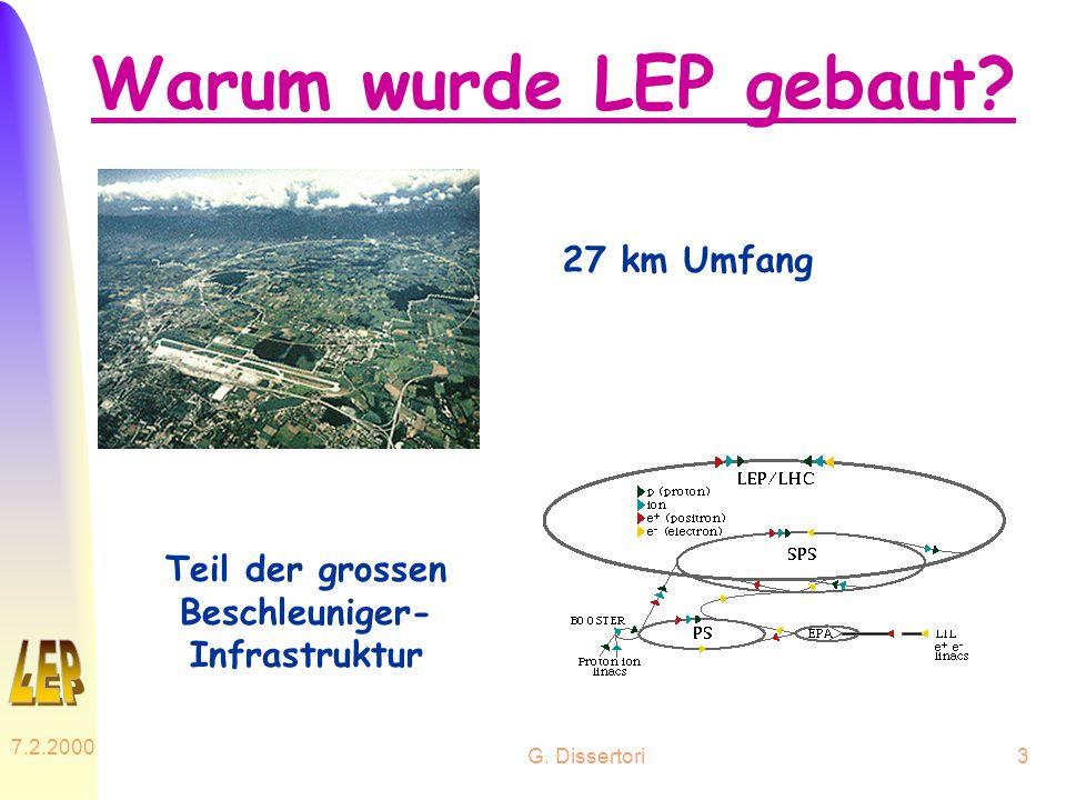 G. Dissertori 7.2.2000 3 Warum wurde LEP gebaut? 27 km Umfang Teil der grossen Beschleuniger- Infrastruktur
