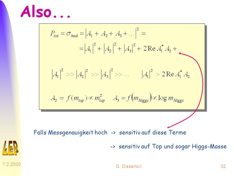 G. Dissertori 7.2.2000 32 Also... Falls Messgenauigkeit hoch -> sensitiv auf diese Terme -> sensitiv auf Top und sogar Higgs-Masse