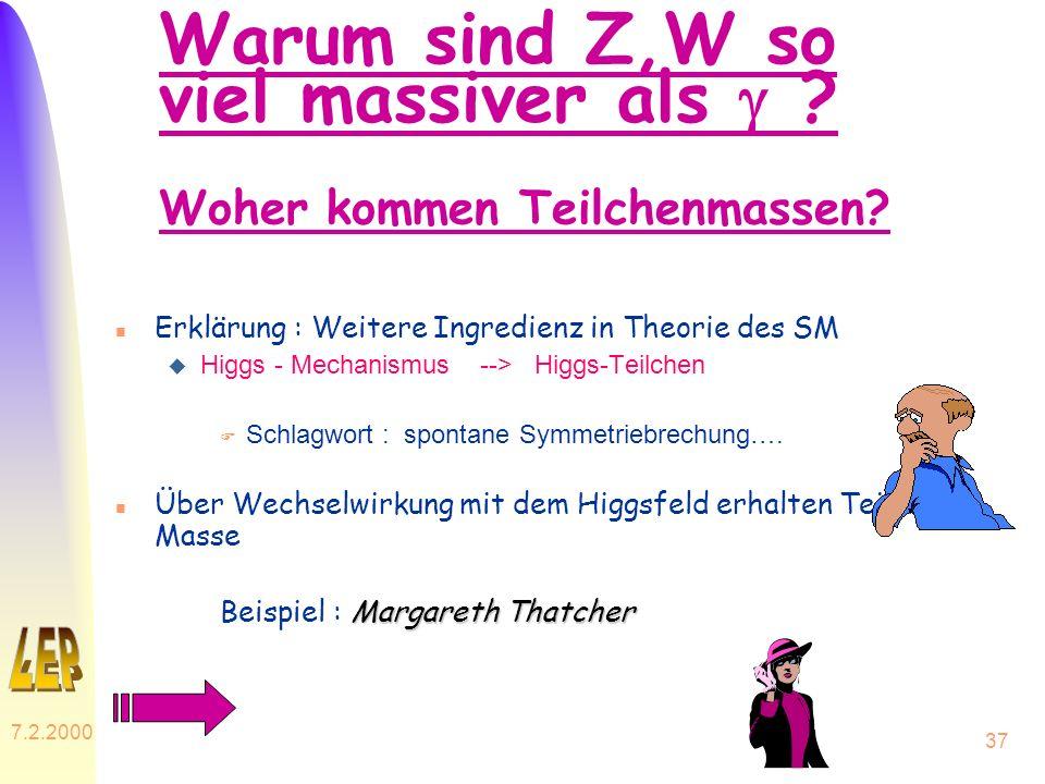 7.2.2000 37 Warum sind Z,W so viel massiver als ? Woher kommen Teilchenmassen? n Erklärung : Weitere Ingredienz in Theorie des SM u Higgs - Mechanismu